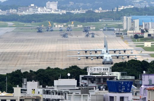 The US Marine Corps Air Station Futenma base in Ginowan, Okinawa prefecture. With the threat of a mass protest, the governor of Okinawa rejected a US plan to deploy Osprey military aircraft on the sub-tropic Japanese island chain amid safety concerns