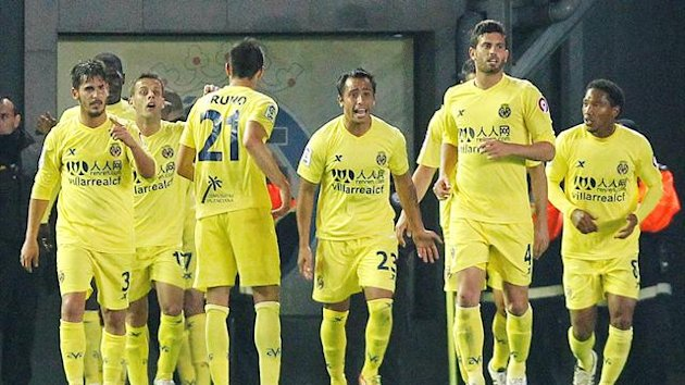 Villarreal's players celebrate