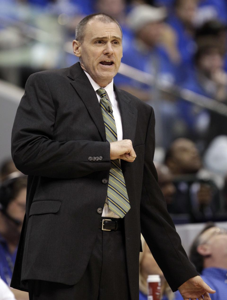 Dallas Mavericks head coach Rick Carlisle reacts during the first half of Game 5 of the NBA Finals basketball game against the Miami Heat Thursday, June 9, 2011, in Dallas. (AP Photo/David J. Phillip)