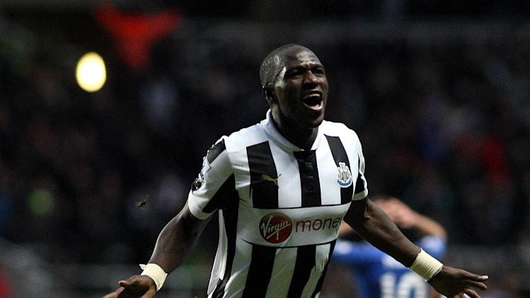 Newcastle United's Moussa Sissoko celebrates scoring during their English Premier League soccer match against Chelsea at St James' Park, Newcastle, England, Saturday, Feb. 2, 2013. (AP Photo/Scott Heppell)