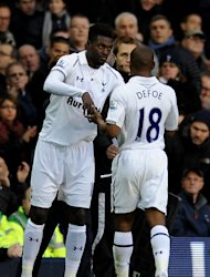 Emmanuel Adebayor, left, replaced Jermain Defoe on Saturday
