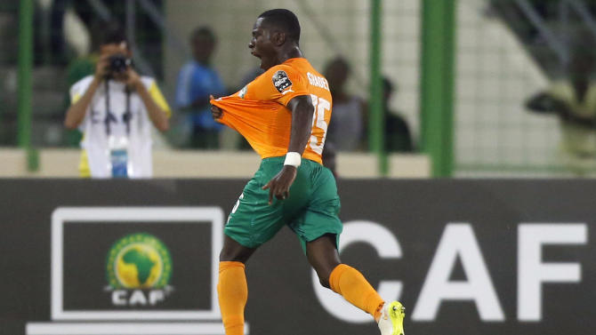 Gradel of Ivory Coast celebrates his goal against Cameroon during their Group D soccer match of the 2015 African Cup of Nations in Malabo