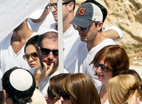 Mila Kunis Comforts Emotional Ashton Kutcher at Kabbalah Leader's Funeral in Israel