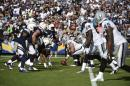 FILE - In this Sunday, Nov. 16, 2014 file photo,The Oakland Raiders and San Diego Chargers face off against each other during the second half of an NFL football game in San Diego. The Oakland Raiders and San Diego Chargers are planning a shared stadium in the Los Angeles area if both teams fail to get new stadium deals in their current hometowns. The teams announced plans for the $1.7 billion stadium in Carson in a joint statement Thursday night, Feb. 19, 2015. (AP Photo/Denis Poroy, File)