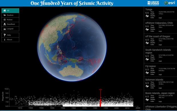 Mapping 100 Years of Earthquakes, in 3-D
