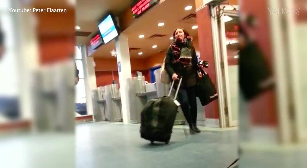Woman's meltdown at ferry terminal goes viral
