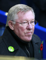 Manchester United manager Alex Ferguson looks on before their English Premier League soccer match against Everton at Goodison Park, Liverpool, England, Saturday Oct. 29, 2011. (AP Photo/Tim Hales)
