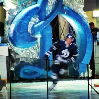 Dynamo Moscow player skates onto the ice through the &quot;Big D&quot;