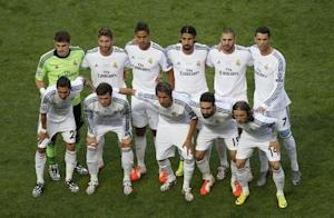 Real Madrid's players pose for a team photo before their Champions League final soccer match against Atletico Madrid at the Luz Stadium in Lisbon
