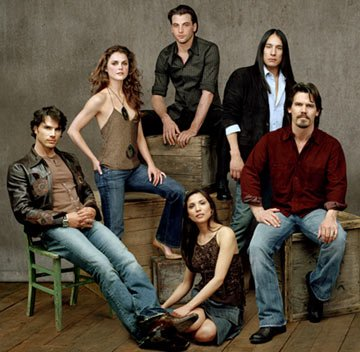 Matthew Settle, Keri Russell, Skeet Ulrich, Michael Spears, Josh Brolin and Tonantzin Carmelo TNT's Into the West