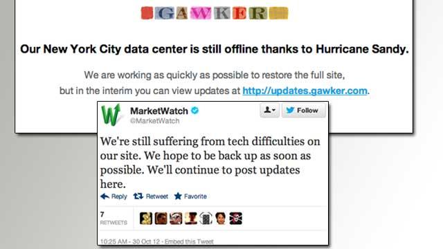 Hurricane Takes Down Big Websites