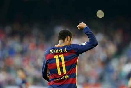 Barcelona's Neymar celebrates a goal against Villarreal during their Spanish first division soccer match at Camp Nou stadium in Barcelona