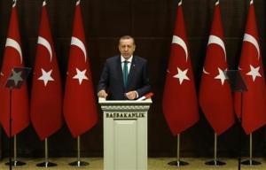 Turkish PM Erdogan addresses media in Ankara