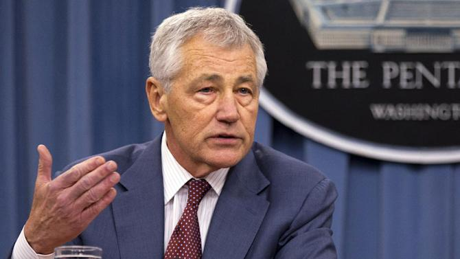 "FILE - In this March 28, 2013 file photo, Defense Secretary Chuck Hagel speaks at the Pentagon. Hagel said Thursday that U.S. intelligence has concluded ""with some degree of varying confidence,"" that the Syrian government has used sarin gas as a weapon in its 2-year-old civil war,  (AP Photo/Jacquelyn Martin, File)"