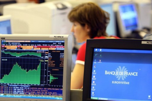 <p>A French trader monitors shares prices in Paris, 2008. European equities fell, hit by a lack of rapid progress towards full banking union at a key EU summit, while traders were mindful of the 25th anniversary of the 1987 global stock market crash.</p>