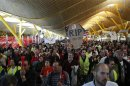 Iberia employees protest in Terminal 4 of Barajas airport during an Iberia strike in Madrid