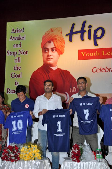 Indian Cricket Captain Mahendra Singh Dhoni, Former Indian football captain Baichung Bhutia and former Jharkhand Minister Sudesh Mahato launching football jersey during Youth Leadership Development Pr