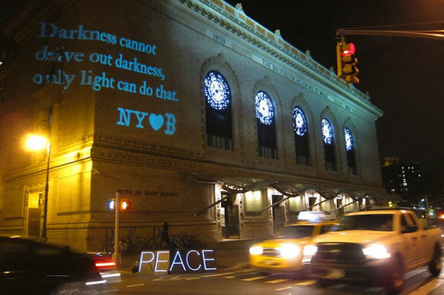 A quote from Martin Luther King projected in Brooklyn, NY.