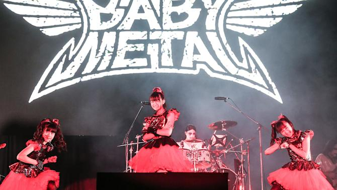 Japanese pop-metal group Babymetal performing during the Summer Sonic festival in Chiba, a suburb of Tokyo, August 16, 2014