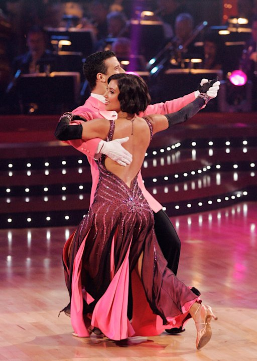 Kim Kardashian and Mark Ballas perform a dance on the seventh season of Dancing with the Stars.