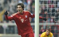 Bayern Munich&#39;s midfielder Javi Martinez celebrates a goal during their German first division Bundesliga football match against Werder Bremen in the southern German city of Munich on February 23, 2013. Bayern Munich rested half a dozen stars but still romped to a 6-1 win at home against 10-man Werder Bremen on Saturday to go 18 points clear at the top of the Bundesliga