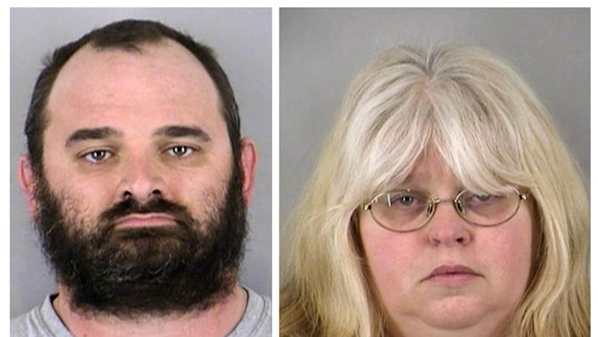 David Martin and his wife Pamela Martin are seen in undated photos provided by the Kansas City Missouri Police Department. David Martin, 42, and his wife, Pamela Martin, 41, are accused of handcuffing the husband's teenage son to a basement pole , and have been charged with child abuse. The couple were charged Tuesday, Feb. 12 2013 in Clay County Circuit Court with felonious restraint and child abuse. The 17-year-old was found Feb. 4 after a neighbor contacted a social services agency. Police found the boy in the basement curled in a fetal position and locked to a steel pole. (AP Photo/Kansas City Missouri Police Department)
