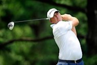 American Bo Van Pelt hits a tee shot on the third hole during the final round of the AT&T National on July 1. Van Pelt closed with an even-par 71