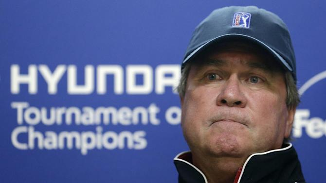 Slugger White, PGA vice president of rules and competition, speaks during a news conference announcing that the first day of theTournament of Champions golf tournament was scratched, Friday, Jan. 4, 2013, in Kapalua, Hawaii. (AP Photo/Elaine Thompson)