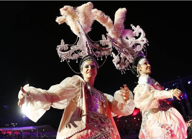 Dancers perform during the opening ceremony of the 21st Life Ball in Vienna