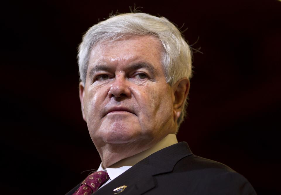 Republican presidential candidate, former House Speaker Newt Gingrich speaks at Xtreme Manufacturing, Thursday, Feb. 2, 2012 in Las Vegas.  (AP Photo/Evan Vucci)