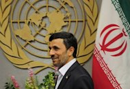 This file photo shows Iran&#39;s President Mahmoud Ahmadinejad arriving to meet with UN Secretary-General Ban Ki-moon during the 66th UN General Assembly at the United Nations headquarters in New York, in 2011. Ahmadinejad was to leave Tehran for New York on Saturday for the UN General Assembly, where he will deliver his final speech to the world gathering, state television reported