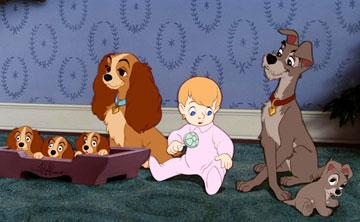 Lady and Tramp in Walt Disney Pictures' Lady and the Tramp