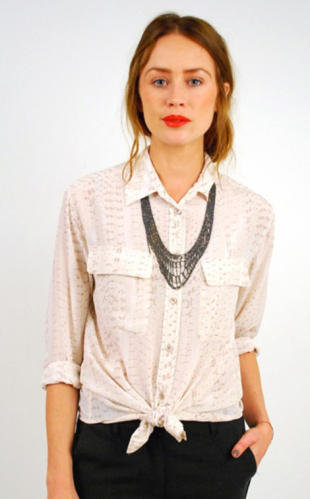 Button-Up Silk Blouse