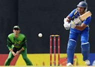 Sri Lankan cricketer Kumar Sangakkara plays a shot during his side's fourth one-day international match against Pakistan at the R. Premadasa Stadium in Colombo on June 16. Sri Lanka scored a competitive 243-8 after electing to bat on Saturday