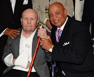 Former boxing referee Mills Lane (L) and boxing referee Joe Cortez at their induction into the Nevada Boxing Hall of Fame on Aug. 10, 2013 in Las Vega...
