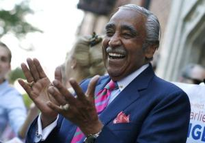 U.S. Representative Charles Rangel, who is running for a 23rd term in Congress, makes an early morning campaign stop outside a subway stop in upper Manhattan in New York City