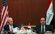 US Vice President Joe Biden (L) meets with Iraqi Premier Nuri al-Maliki in Baghdad in 2011. Biden pressed Maliki in a telephone call Friday to bar the passage of weapons shipments to Syria through Iraqi airspace, the White House said