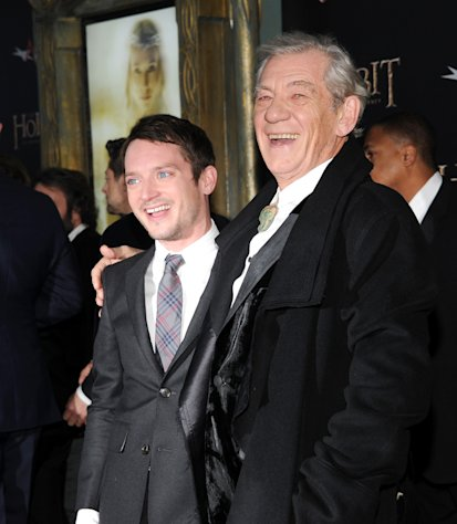 "Actors Elijah Wood, left, and Ian McKellen attend the premiere of ""The Hobbit: An Unexpected Journey"" at the Ziegfeld Theatre on Thursday Dec. 6, 2012 in New York. (Photo by Evan Agostini/Invision/AP)"