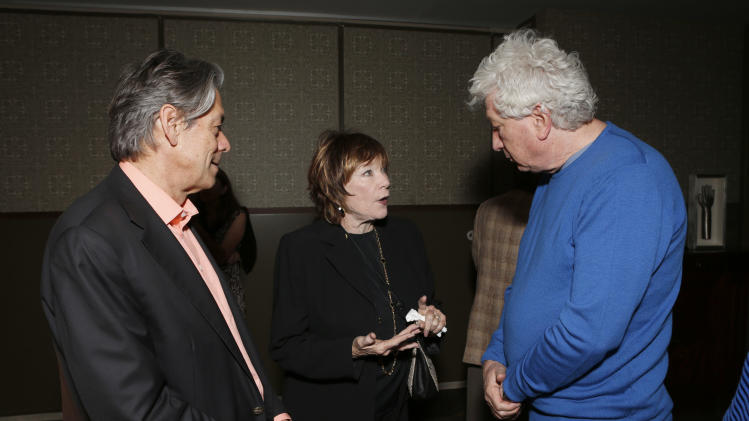 "Millennium Entertainment CEO Bill Lee, Shirley MacLaine and Nu Image Co-Chairman Avi Lerner attend a celebration for ""Bernie"" by Millennium Entertainment on Tuesday Oct. 30, 2012, in Los Angeles.  (Photo by Todd Williamson/Invision for Millennium Entertainment/AP Images)"