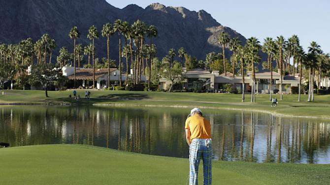 Brian Gay putts on the 18th green during the final round of the Humana Challenge PGA golf tournament on the Palmer Private Course at PGA West, Sunday, Jan. 20, 2013, in La Quinta, Calif. Gay won the tournament on the second hole of a playoff. (AP Photo/Ben Margot)