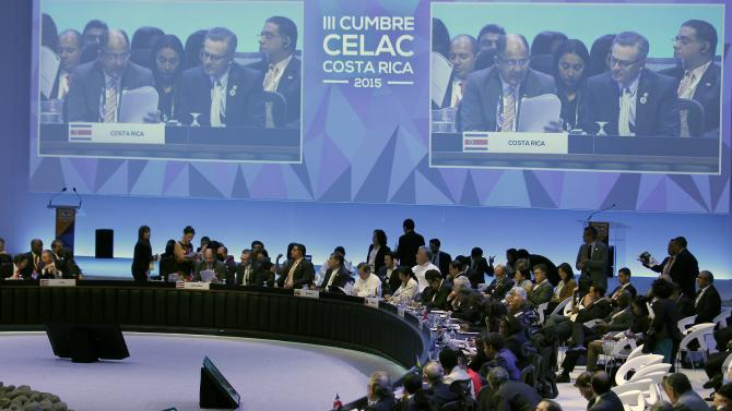 Costa Rica's Luis Guillermo Solis, speaks during the closing ceremony of the summit of the Community of Latin American and Caribbean States (CELAC) in San Antonio de Belen Heredia province