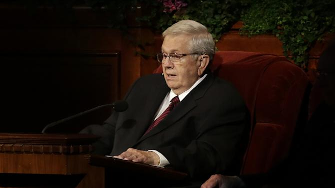 President Boyd K. Parker, of the Quorum of the Twelve Apostles, of The Church of Jesus Christ of Latter-day Saints addresses the 183rd Annual General Conference of The Church of Jesus Christ of Latter-day Saints Saturday, April 6, 2013, in Salt Lake City. The Mormon church is planning to build two new temples in Rio de Janeiro and Cedar City, Utah. The faith's president, Thomas S. Monson, announced the new temples on Saturday during the 183rd semi-annual general conference of The Church of Jesus Christ of Latter-day Saints. More than 100,000 members of the church have gathered in Salt Lake City to hear words of inspiration and guidance for daily living from the faith's senior leaders.  (AP Photo/Rick Bowmer)