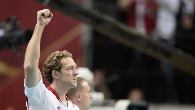 Poland's coach Stephane gestures during Volleyball Men's World Championship final against Poland in Katowice