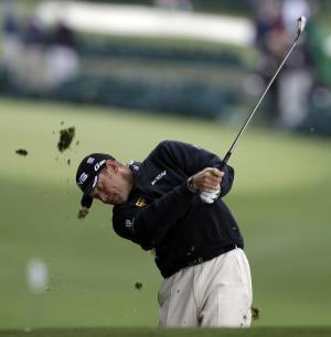 Lee Westwood, of England, hits off the first fairway during the second round the Masters golf tournament Friday, April 6, 2012, in Augusta, Ga. (AP Photo/Matt Slocum)