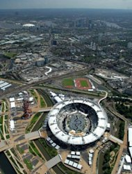 <p>An aerial view of London's Olympic Park in June 2012. British authorities insisted Thursday that Olympic security would not be compromised after having to draft in an extra 3,500 troops because a private security firm failed to provide enough guards.</p>