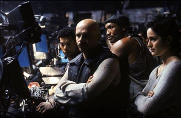 Marcus Chong , Joe Pantoliano , Anthony Ray Parker and Carrie-Anne Moss in Warner Brothers' The Matrix