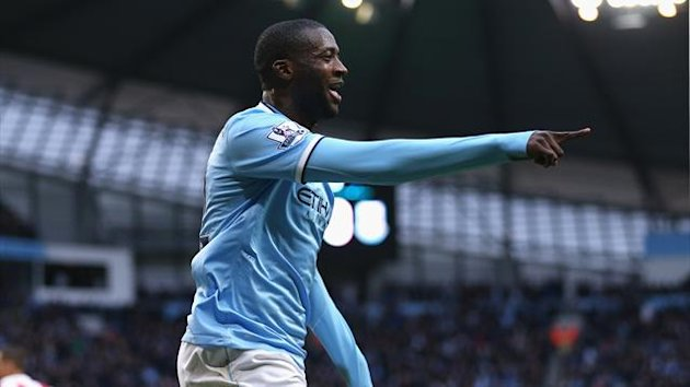 Yaya Toure of Manchester City celebrates scoring the opening goal (Getty Images)