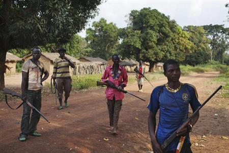 Fighters from a self-defence militia known as anti-balaka guard Mbakate village