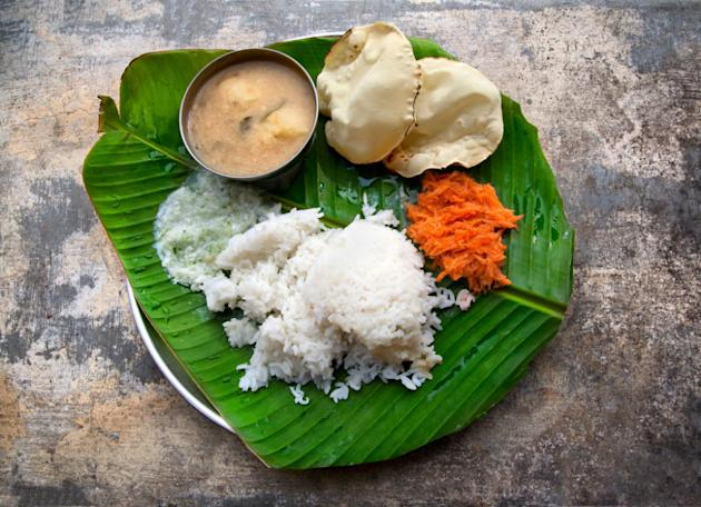 Indian meal on a banana leaf