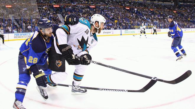 Carlo Colaiacovo #28 Of The St. Louis Blues Defends Getty Images